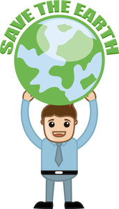 Man Holding Save The Earth Banner With Earth Icon