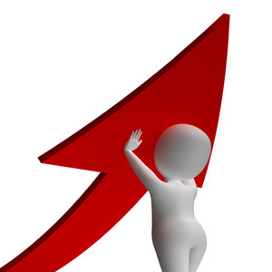 Man Holding Up Arrow Shows Improvement Or Growth