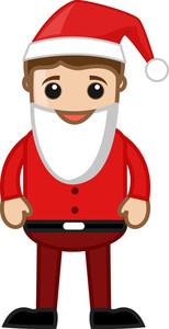 Man In Santa Costume On Christmas - Cartoon Business Characters