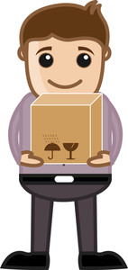 Man Lifting A Box - Business Cartoon