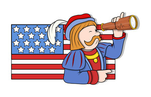 Man Looking In Binocular With Usa Flag Vector