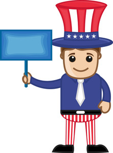 Man On 4th Of July - Business Cartoon Characters