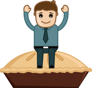 Man On Apple Pie - Cartoon Business Vector Character