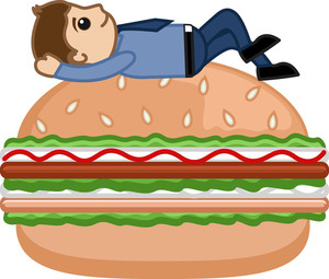 Man On Burger - Cartoon Business Vector Character
