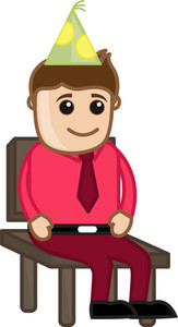Man On Chair - Birthday - Cartoon Business Characters