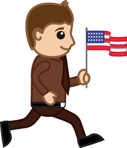 Man On Independence Day - Cartoon Business Characters