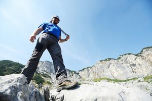Man on top of mountain for conceptual design