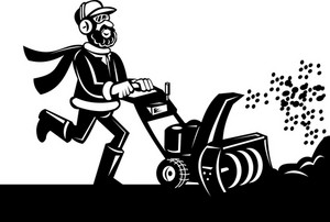 Man Operating Snow Blower Or Thrower