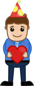 Man Presenting Heart In Party - Cartoon Business Character