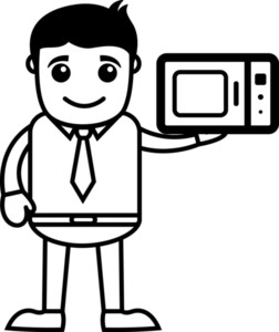 Man Presenting Microwave Oven - Vector Illustration