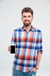 Man presenting smartphone with blank screen