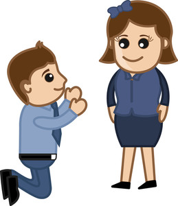 Man Proposing A Lady - Vector Illustration