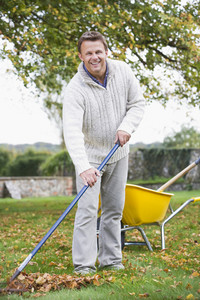 Man raking autumn leaves in garden