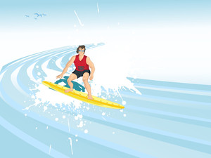 Man Riding A Surfboard On The Wave Crest