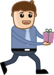 Man Running Holding Gift Box - Cartoon Business Characters