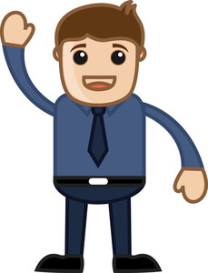Man Saying Hi In Office - Business Cartoon Character Vector
