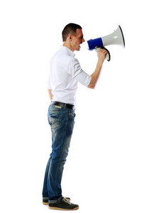 Man screaming on the megaphone isolated on white background