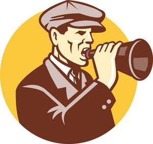 Man Shouting With Vintage Bullhorn Retro