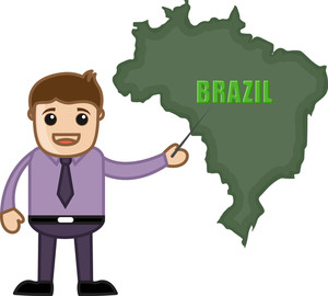 Man Showing Brazil Map Vector