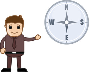 Man Showing Compass Cartoon Vector