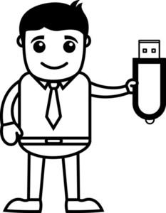 Man Showing Pen Drive - Dongle - Data Card - Vector Illustration