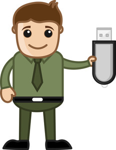 Man Showing Pen Drive - Dongle - Data Card - Vector Illustration