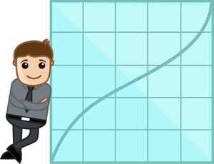 Man Showing Success Graph - Business Cartoon Character Vector