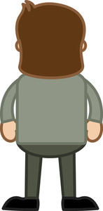 Man Standing Back - Vector