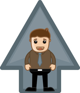 Man Standing In Arrow - Vector Character Illustration