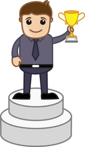 Man Standing On Podium Vector