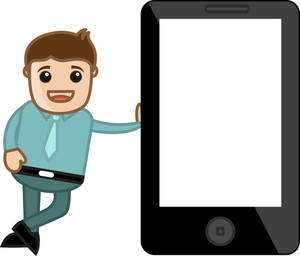 Man Standing With A Blank Tablet Phone Device - Business Cartoon