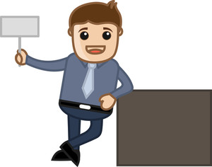 Man Standing With Blank Billboard - Business Cartoon Character Vector