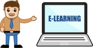 Man Standing With E-learning Laptop - Office Character Vectors