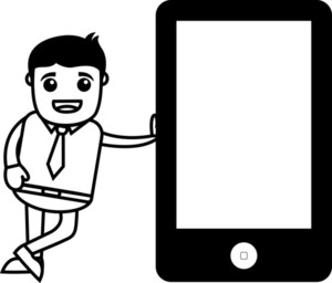 Man Standing With Tablet Device - Vector Illustration