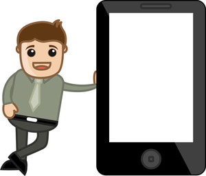 Man Standing With Tablet Device - - Vector Illustration