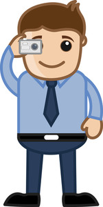 Man Taking Picture - Office Character - Vector Illustration