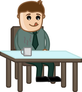 Man Waiting For Food - Cartoon Business Vector Character