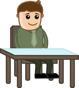 Man Waiting On Reception - Business Cartoon Character Vector