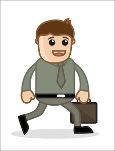 Man Walking - Office And Business People Cartoon Character Vector Illustration Concept