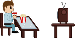 Man Watching Tv While Having Cold Drink And Popcorns Food - Cartoon Business Vector Character