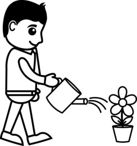 Man watering the plant Royalty Free Vector Image