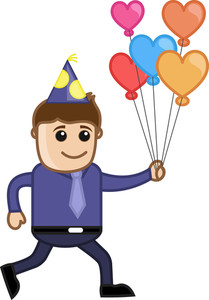 Man With Balloons In Party - Cartoon Business Character