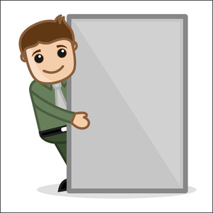 Man With Banner - Office And Business People Cartoon Character Vector Illustration Concept