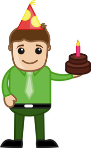 Man With Birthday Cake - Cartoon Business Character
