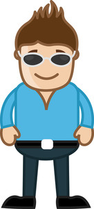 Man With Black Goggles - Office Corporate Cartoon People