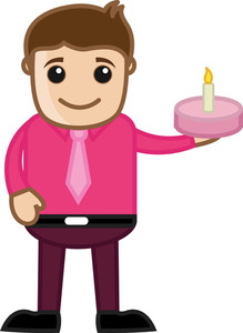 Man With Cake - Cartoon Business Character