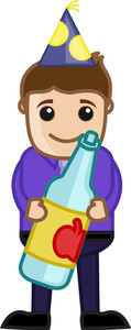 Man With Drink Bottle In Party - Cartoon Business Character