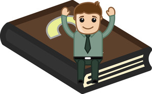 Man With Faq Book - Cartoon Office Vector Illustration