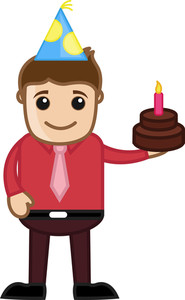 Man With Funny Cap On Birthday Celebration - Cartoon Business Character