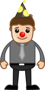 Man With Funny Joker Nose - Cartoon Business Character
